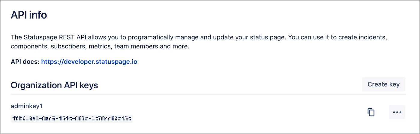 Statuspage API key