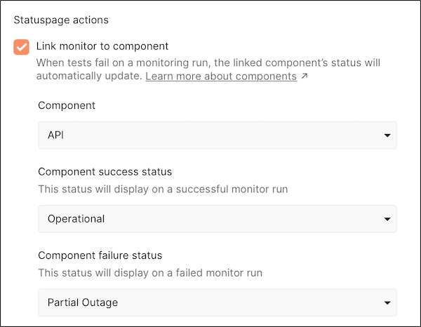 Statuspage link monitor to component