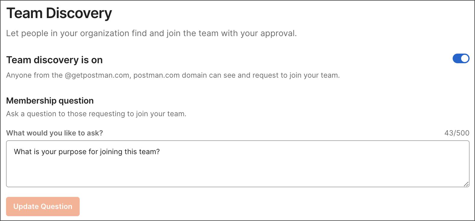 Edit team profile
