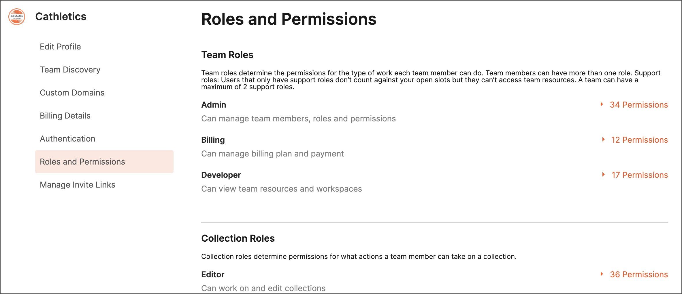Roles and permissions descriptions