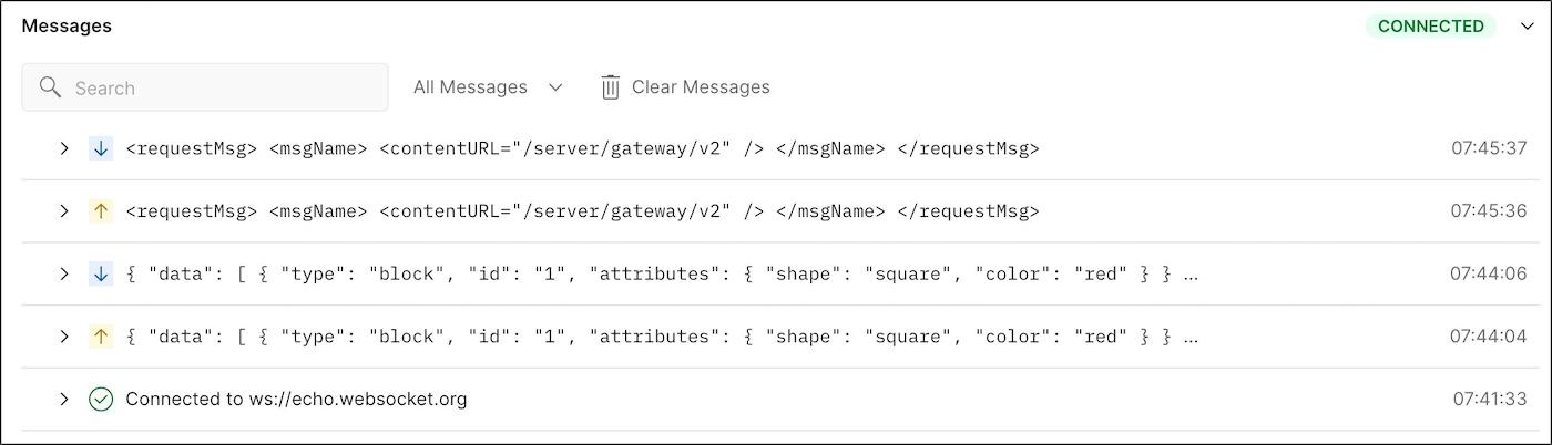 WebSocket messages